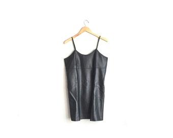 Size M // FAUX LEATHER DRESS // Black Mini Dress - Strappy Cami Tank Dress - Vintage '90s.