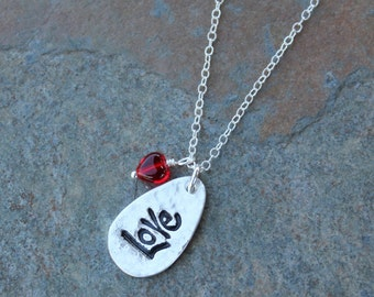Love necklace - handmade fine silver teardrop charm on a sterling silver chain - red glass heart or birthstone colors - free shipping USA