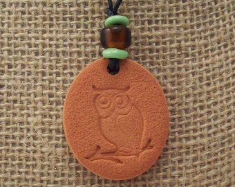 Owl Terra Cotta Aromatherapy Necklace - with or without Essential Oil of Your Choice - Natural Diffuser Jewelry - No Metal Pendant