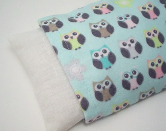 Flannel Covered Microwave Heat or Cold Pack - Little Pastel Owls on Mint - Boo Boo Rice Bag with Removable Washable Cover - 7x 4 1/2 inches