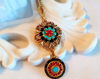 Best Fall Jewelry - Turquoise - Flower Necklace -  FLORENCE Flower