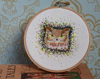 Unique Hand Embroidered Owl Portrait