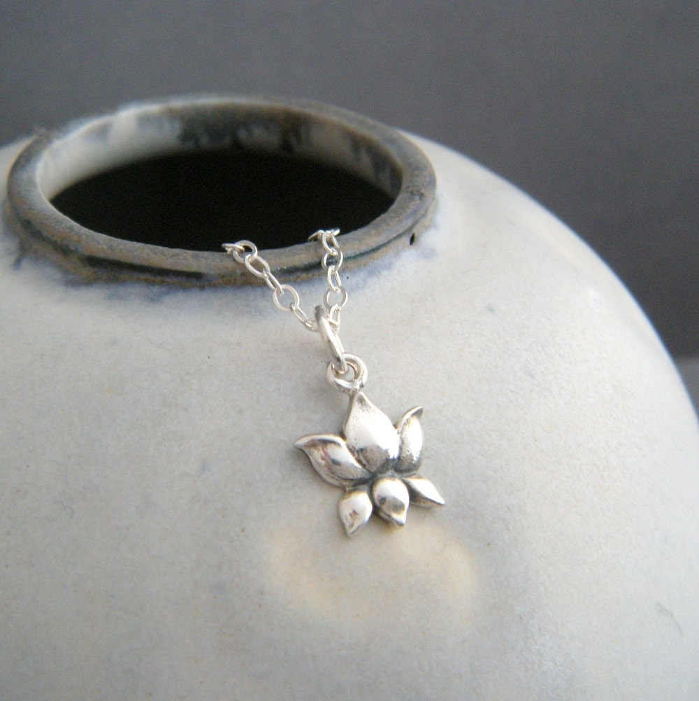 Tiny lotus flower necklace realistic flower charm small for Gemsprouts tiny plant jewelry