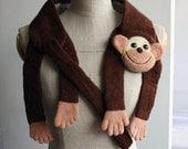 SALE Crazy Monkey - children books inspired fun animal scarf