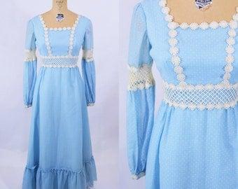 "1970s maxi dress   blue bohemian dotted swiss maxi   vintage 70s dress   W 26"""