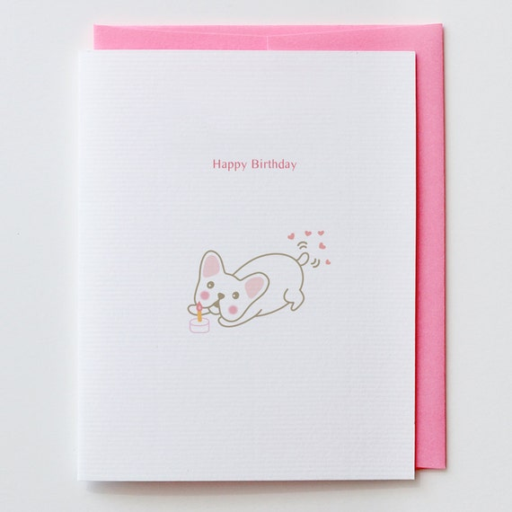 Candle with French Bulldog Birthday Card - Happy Birthday, Greeting Card, Animal Card, Tail, Funny, Unique, Dog, Flower