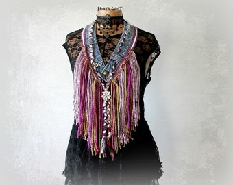 Artsy Scarf Boho Fringe Necklace Mori Girl Jewelry Up Cycled Jeans Purple Tribal Scarf Bohemian Festival Fairy Clothes Cowgirl Scarf 'SAMMI'