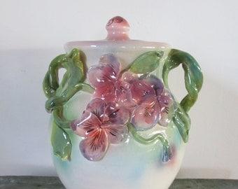 Handmade Pansy  Covered  Jar