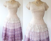 1950s dress / vintage lace dress / Ombre Lace dress