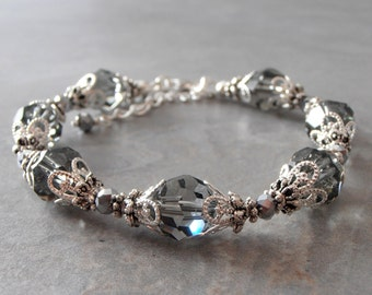 Dark Gray Bridesmaid Jewelry Grey Crystal Bracelet Faceted Black Diamond Swarovski Elements in Antiqued Silver Crystal Bridesmaid Bracelets