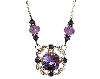 Pendant Necklace,  Vintage Violet Filigree Pendant Necklace with Crystals from Swarovski