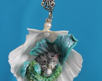 Mermaid Kitty Cat Pendant Necklace  Polymer sculpted in seashell