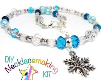 DIY Necklace jewellery making kit - Winter Wonderland girls necklace, craft kit, snowflake pendant, necklace kit,