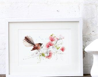 New Zealand Christmas Fantail Art Print A3, A2 & A1 WatercolourArt Print