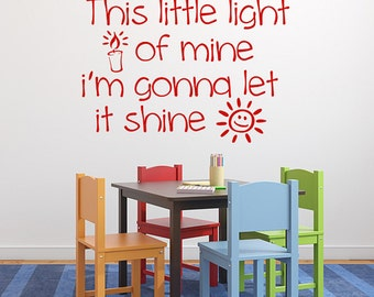 This Little Light of Mine vinyl decal, Sunday School, Childrens Church, Nursery Decor. Bible song lyrics, child decal.