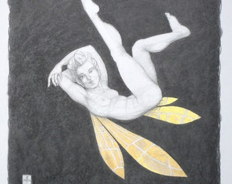 "Male nude, original drawing - ""Billy"" - a fairy in pencil and real gold leaf. Erotic art, nude pencil drawing. Illustration by Nancy Farmer"