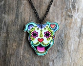 Smiling Pit Bull - Day of the Dead Sugar Skull Dog Necklace - THE ORIGINAL Pitbull