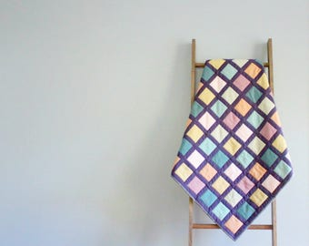 Modern Baby Girl or Boy Quilt, Baby Blanket, Crib Quilt, Stroller Blanket - Modern Windowpane Design
