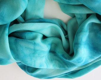 Green Infinity Scarf, Hand Painted Blue Infinity Scarf, Light Green Infinity Scarf, Blue Scarf, Green Scarf, Large Scarf