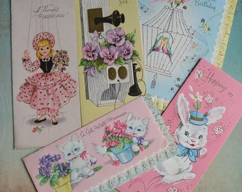 Vintage Birthday Get Well Cards Lacy Edges Glitter Cats Puppet Girl Most Unused