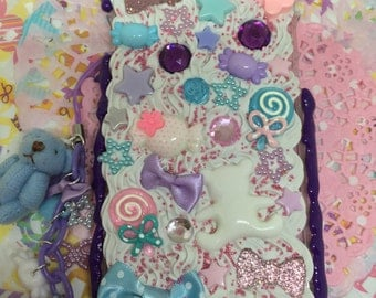 Purple Decoden Iphone 6 or 6s Case with Charm and Dust Plug