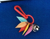 Vintage 80's Plastic Bell Clip Colorful Miniature Feathers Charm Toy Necklace Jewelry Pendant