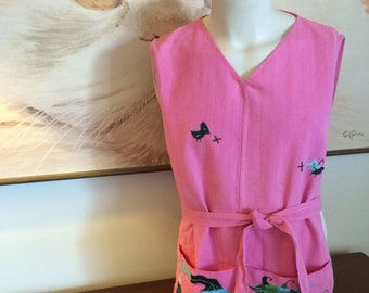 Vintage Pink Smock Apron with Embroidered Animals 60's 70's Cotton Fabric Mexico