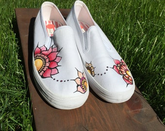 size 8.5 one of a kind hand painted shoes