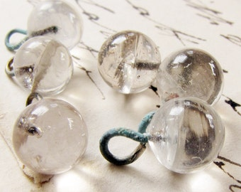 tiny glass orb charms - vintage clear crystal ball beads - imperfect perfection - 6 pieces - salvaged supply
