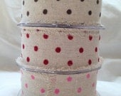 SALE 25% OFF - Natural Linen Ribbon - Velvet Polka Dots  - 3 metre length -  Red / Pink / Brown
