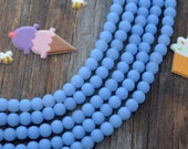 "Frosted Periwinkle, 6mm Round Cultured Glass Beads, Recycled Sea Glass Beads, 34 beads 8"" strand, Cultured Sea Glass, Blue, Jewelry Supplies"