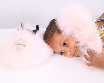 vintage Pink Fuzzy Feather Phone Diva Princess Push Button Telephone touch tone phone 1990s marabou