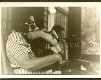 Set of 2 - Boston Terrier Dog - 1930s Snapshot Photos