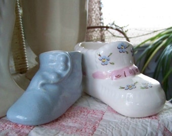Two Vintage Pottery Baby Shoe Planters
