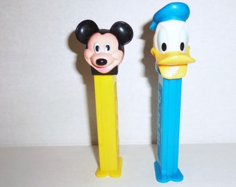 Vintage Pez Donald Duck & Mickey Mouse Pez Candy dispensers
