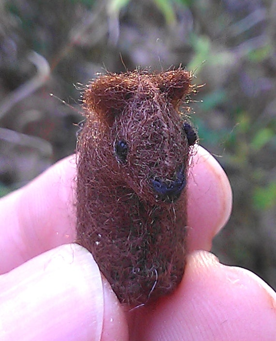 Tiny Grizzly Bear -- miniature Maine wildlife Canada Canadian animals brown bears forest woodland felted tiny