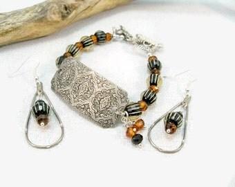Silver Cuff Bracelet, Topaz and Black, Drop Earrings, Glass Bead Bracelet, Jewelry Set, Charm Bracelet