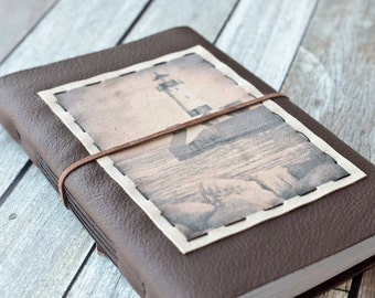 Large Lighthouse Leather Journal, Brown Sketchbook