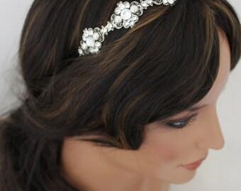Bridal headband, Bridal headpiece, Wedding hair accessory, Crystal wedding headband, Bridal tiara, Antique silver headpiece, ASHLYN headband