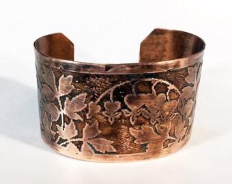 Etched Copper Cuff Bleeding Hearts Bracelet