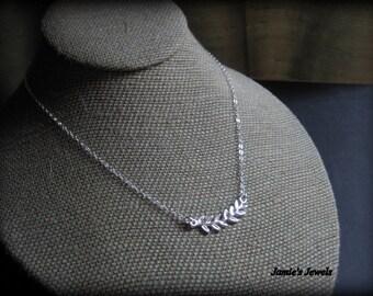 Sterling Silver Leaf Necklace - Leaf Necklace Silver - Roman Leaf - Twig Leaf  - Everyday - Modern - Simple - Layering -Nature Inspired Gift