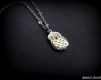 Sterling Silver Owl Necklace - Owl Sterling Silver  - Modern Sterling Silver Necklace - Everyday Sterling Silver Necklace - Tiny Silver Owl