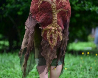 Nuno Felted Fairy Woodland Nymph Silk Chiffon Great GrandfatherTree And Tree Roots Pixie Belt OOAK