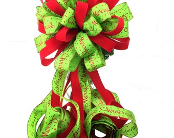 Christmas Tree Topper Bow in Red & Lime Green with double ribbon, Red Lime Green Christmas Decor, Red Lime Green Holiday Decor