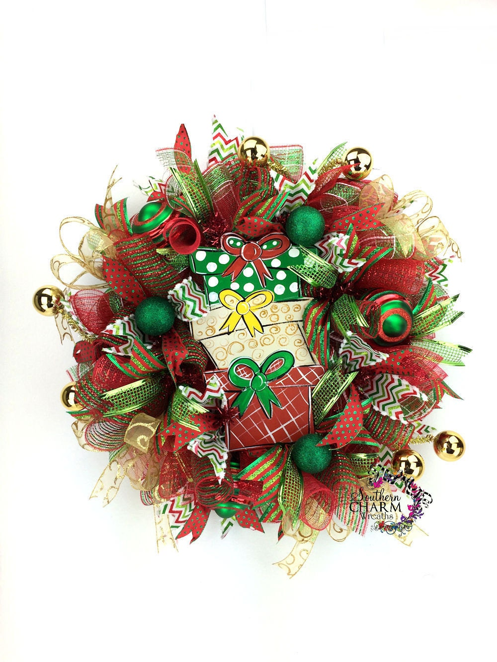 Deco Mesh Christmas Wreath Christmas Present Wreath Red