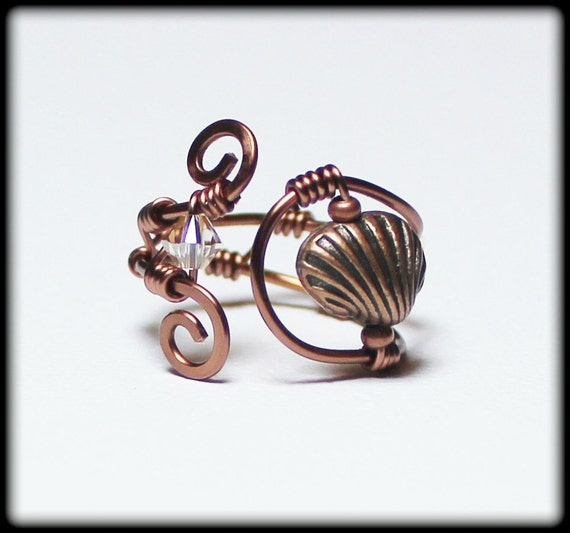 seashell handmade jewelry ring beaded wirework wire wrapped