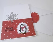 Handmade Christmas Card Penguin Peace & Love Dimensional Eco Friendly Recycled Card Stock