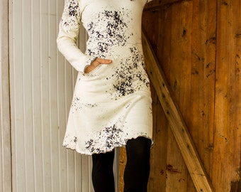 SAMPLE SALE - Size XS/S - As Pictured - Gypsy Kangaroo Pocket Hooded Dress - Hemp & Organic Cotton Fleece - Ready to Ship - Great Gift - Eco