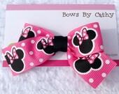Hot Pink Minnie Mouse Hair Bow - Minnie Mouse Hair Clip