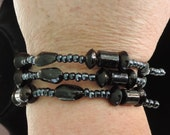 Bracelet, memory wire beaded bracelet,  dark black, charcoal colors, very adaptable to any wrist